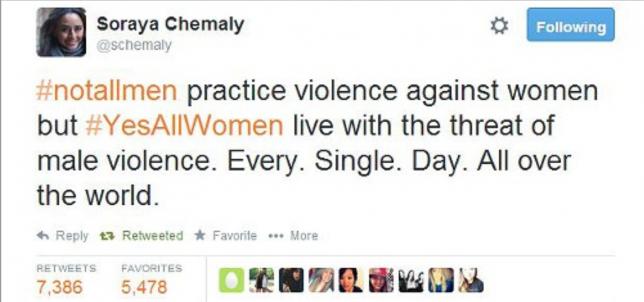 #YesAllWomen tweet by Soraya Chemaly advocates for Women's Rights