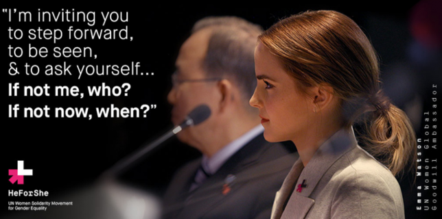 Emma Watson quote for #HeForShe in honor of Women's Rights