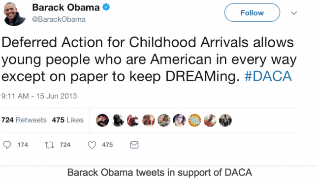 Obama tweets about DACA for Dreamers