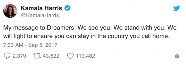 Kamala Harris message to Dreamers