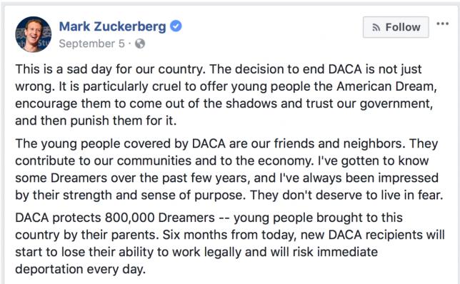 Mark Zuckerberg for Dreamers