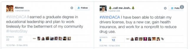 DREAMers tweets about their DACA experiences