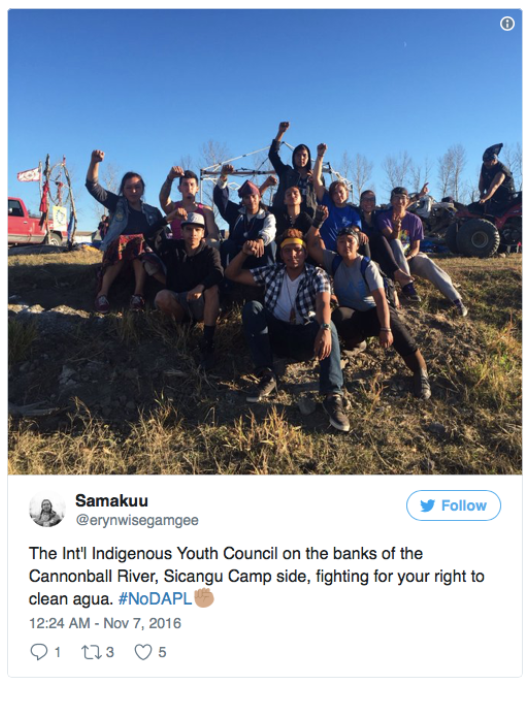 Tweets about indigenous youth supporting #NoDAPL