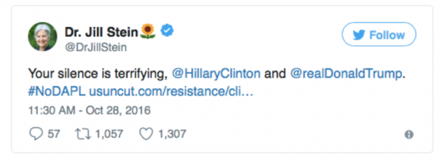 Dr. Jill Stein tweets about #NoDAPL and lack of political awareness.
