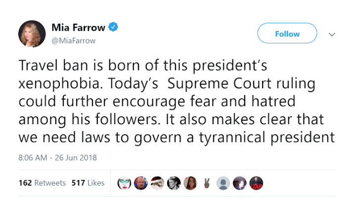 #NoBanNoWall Mia Farrow Tweet