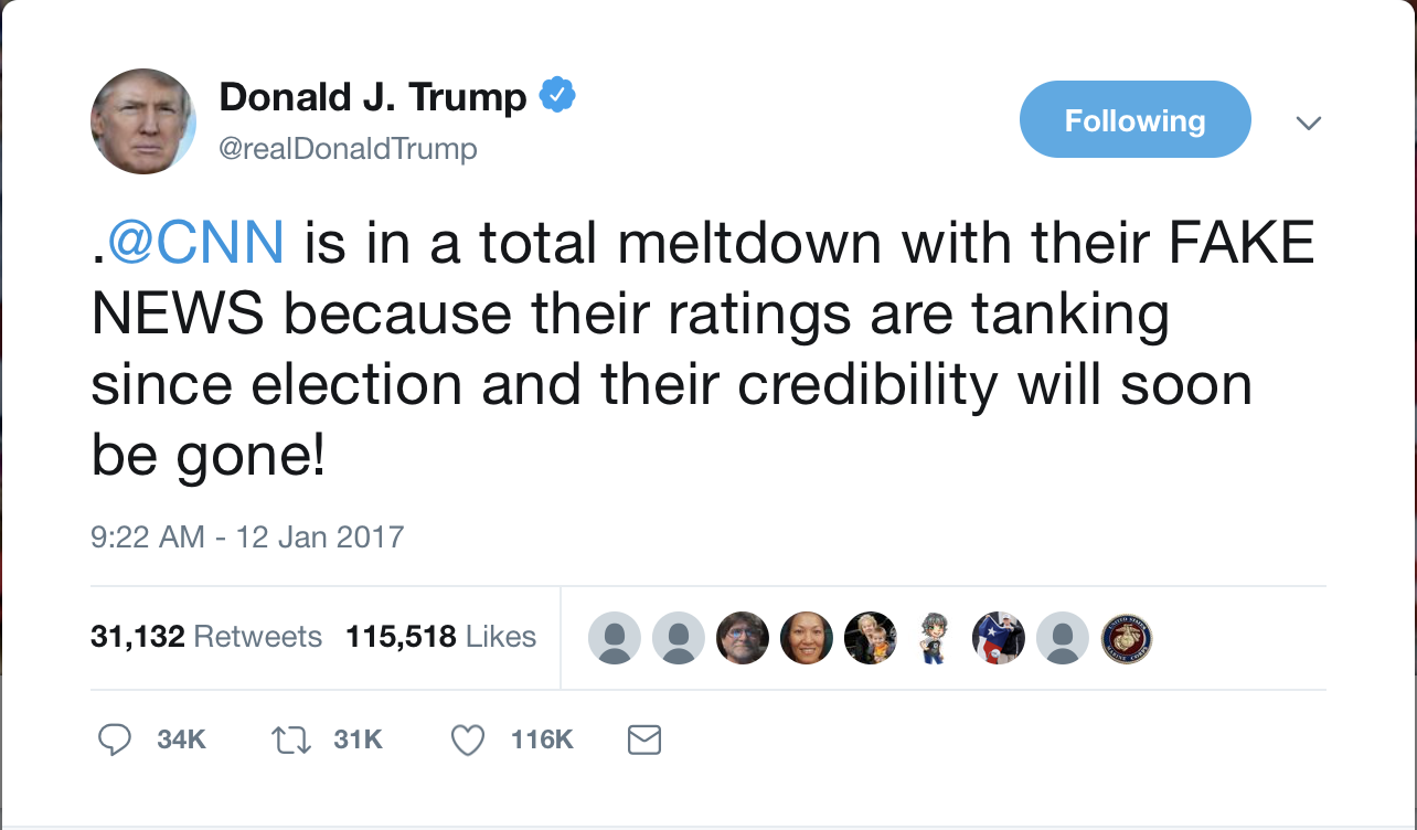 Donald Trump reflects the #FakeNews claims about the election with his 2017 tweet.