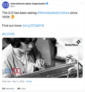 #WhoMadeMyClothes Twitter, ILO, 1919
