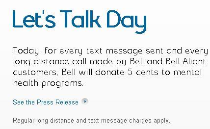 #BellLetsTalk Twitter Post