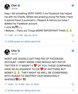 #DeleteFacebook Cher Tweet