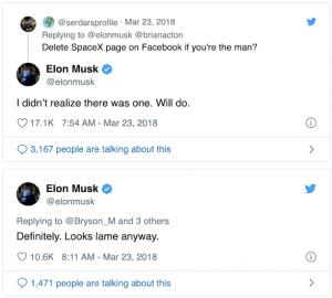 #DeleteFacebook Elon Musk Tweet